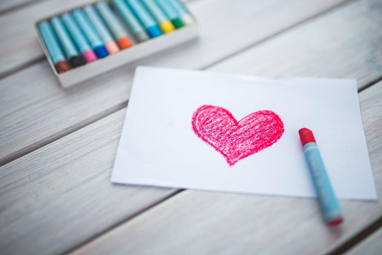 moeder hart krijt tekening